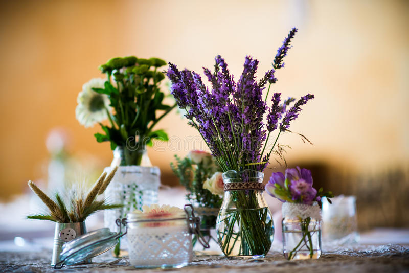 Table setting - wild flower decorations royalty free stock photo