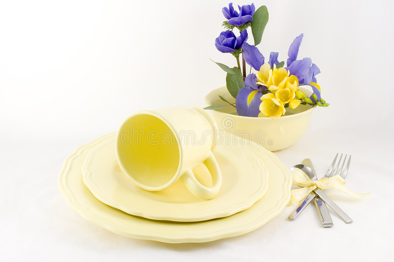 Table setting yellow royalty free stock photography