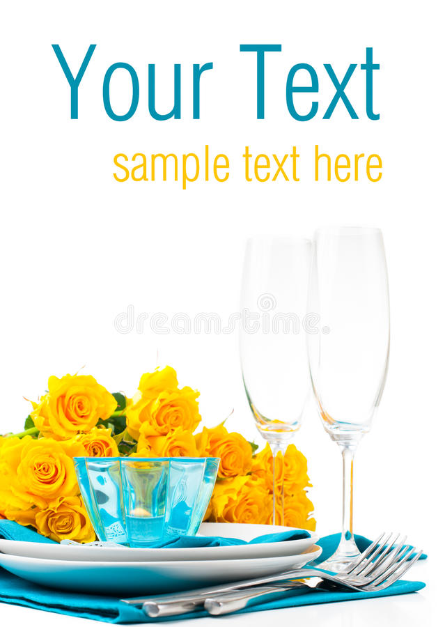 Table Setting With Yellow Roses, Ready Template Royalty Free Stock Photography