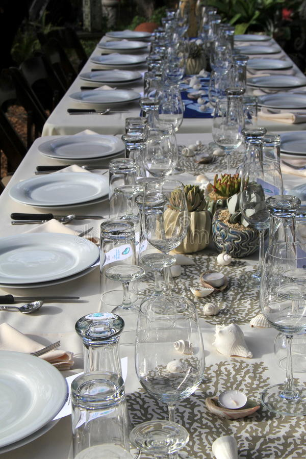 Table settings for dinner with folks attending benefit dinner, Foodie festival Encinitas, California, 2016. Beautiful table setting for dinner with folks stock images