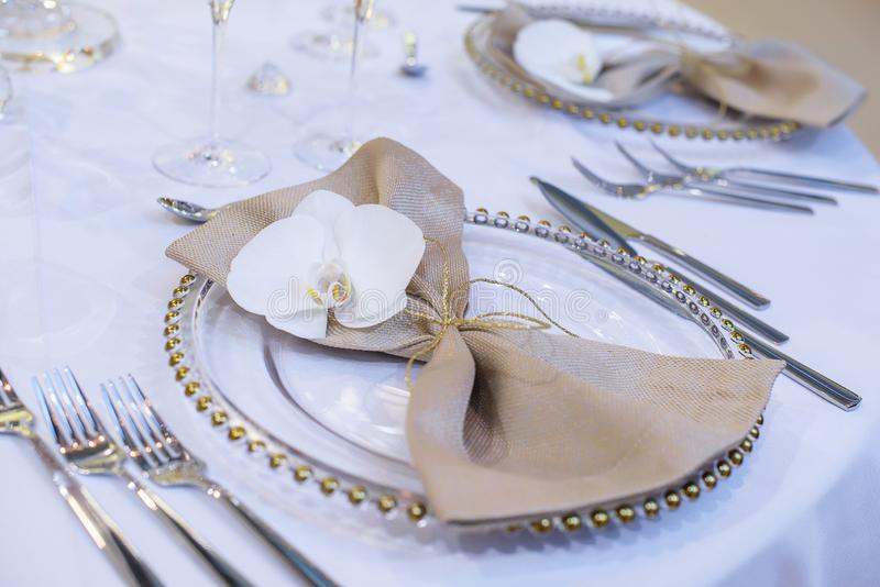 Table Setup For A Formal Event Wedding Or A Fine Dining Restaurant Stock Photo Image Of Dining Catering 136907900