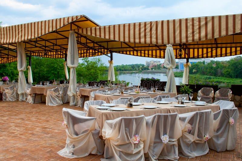 Table setup at hotel restaurant stock photo image