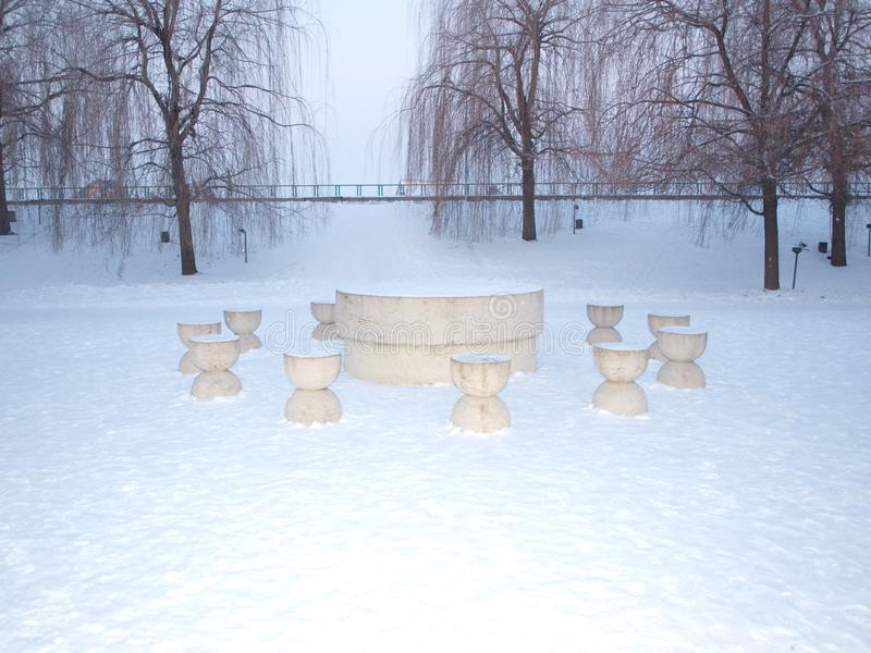 The table of silence - Brancusi - Targu Jiu. Winter white The table of silence - Brancusi - Targu Jiu - Gorj. Sculptural Ensemble of Constantin Brancusi at Tâ stock photos