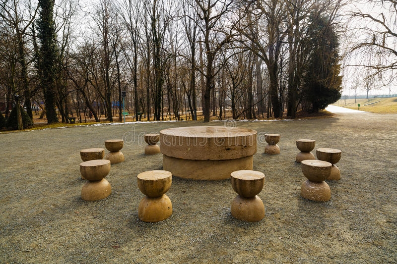 Table Of Silence Is One Of The Three Pieces Of Targu Jiu Monumental Ensemble Of The Romanian Sculptor Constantin Brancusi stock image