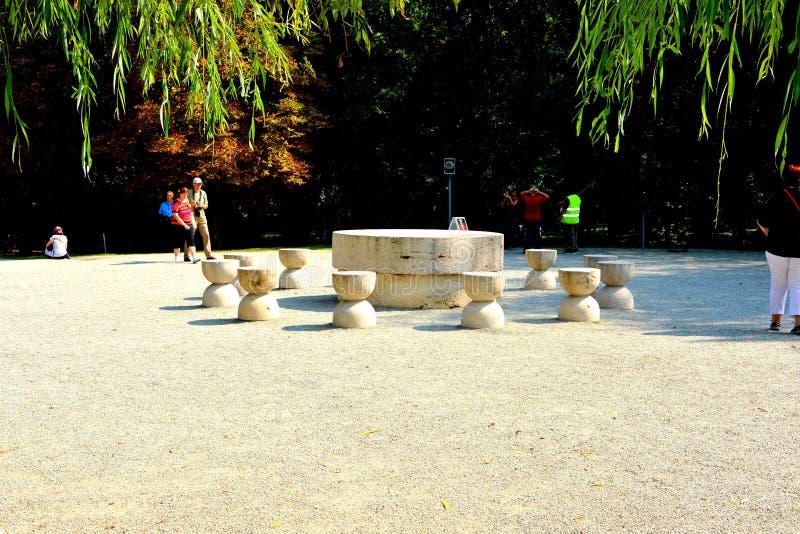 The Table of Silence.The Sculptural Ensemble of Constantin Brâncuși at Târgu Jiu. The Sculptural Ensemble of Constantin Brâncuși at Târgu Jiu stock photos