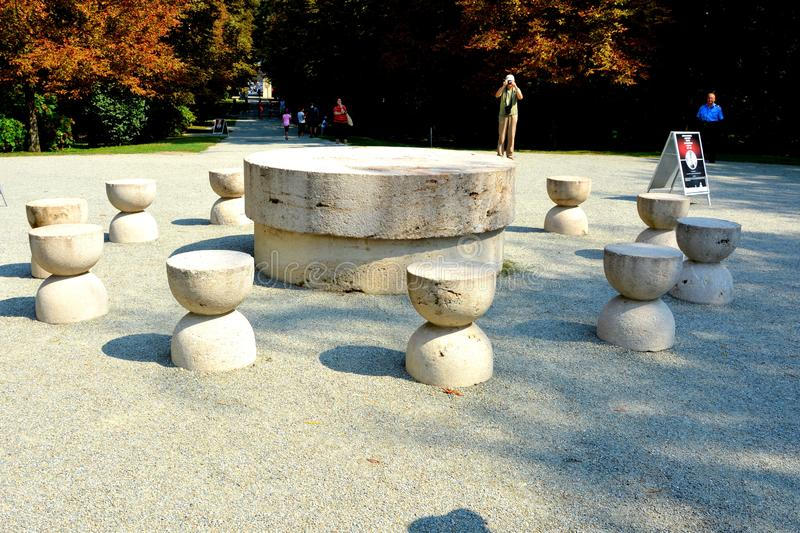 The Table of Silence.The Sculptural Ensemble of Constantin Brâncuși at Târgu Jiu. The Sculptural Ensemble of Constantin Brâncuși at Târgu Jiu royalty free stock photography