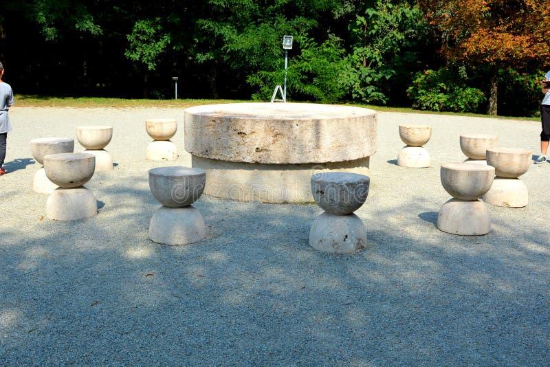 The Table of Silence.The Sculptural Ensemble of Constantin Brâncuși at Târgu Jiu. The Sculptural Ensemble of Constantin Brâncuși at Târgu Jiu stock image
