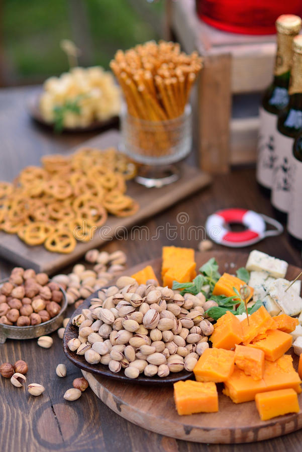 Table with snacks stock image