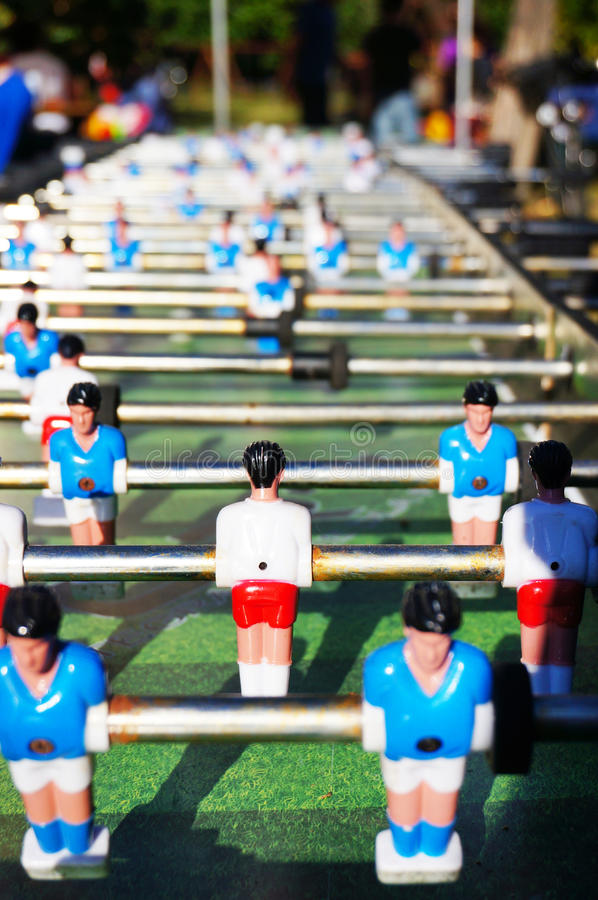 Table soccer game. Close-up of the figures of a table soccer game royalty free stock photo