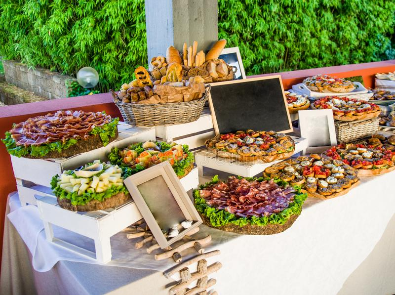 Table spread with appetizers for your party royalty free stock photo