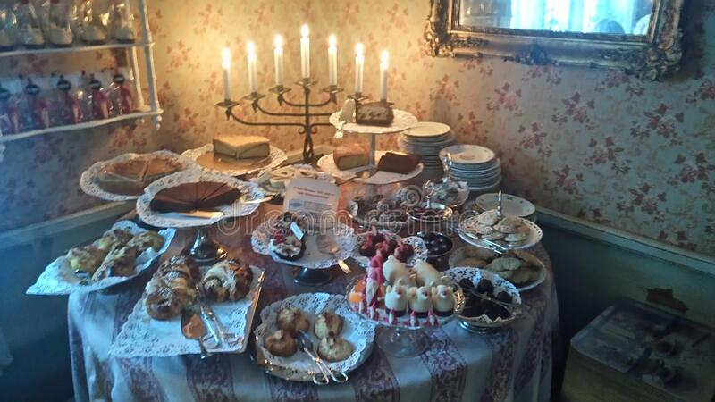 Table Of Sweets With Menorah Free Public Domain Cc0 Image