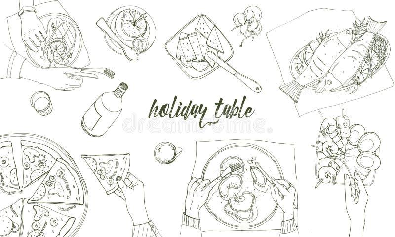 Table tableful et étendue de fête, illustration tirée par la main de découpe de vacances, vue supérieure Fond avec la place pour  illustration libre de droits