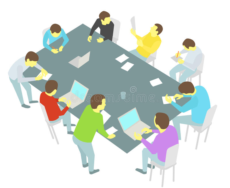 Table talks. nine persons set. Group of business people team meeting conference stock illustration