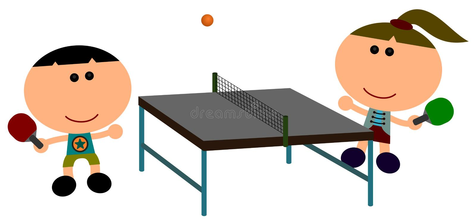 Table tennis. Illustration of two cartoon characters happily plays table tennis vector illustration