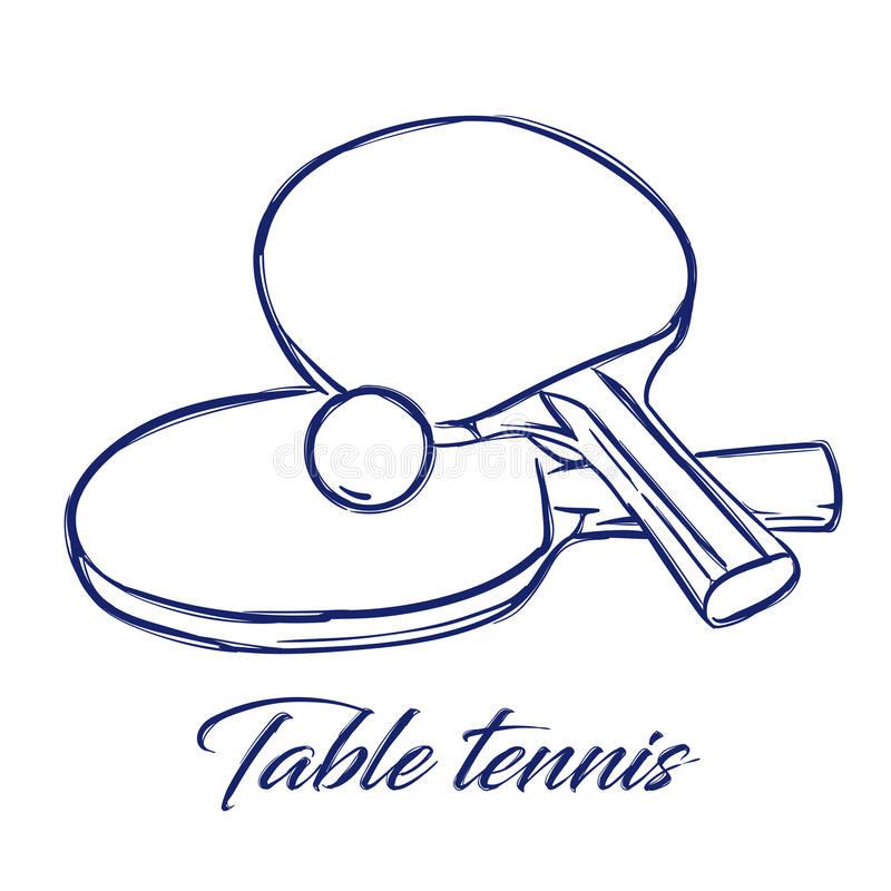 Table tennis bats and ball stock illustration