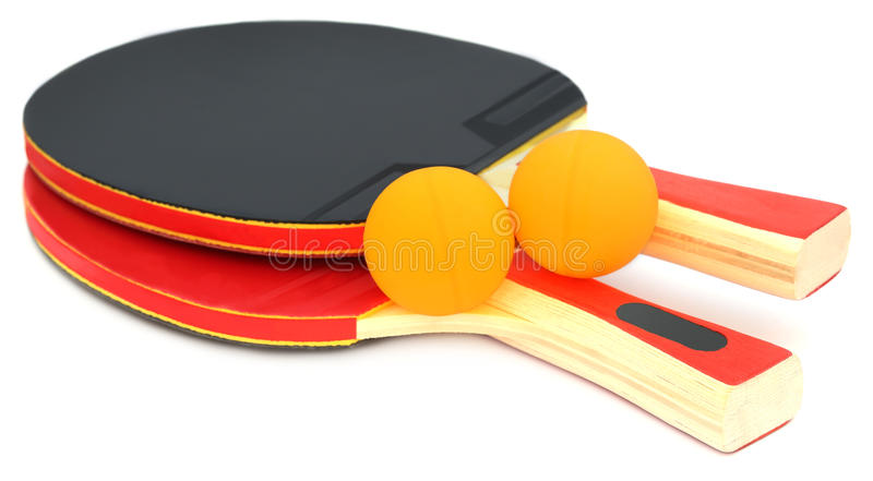 Table tennis bats and ball royalty free stock photo