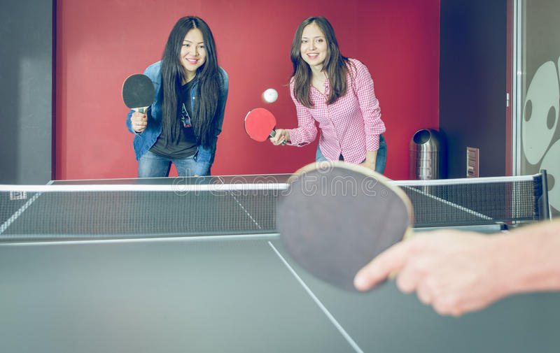 Table tennis match for fun stock photo