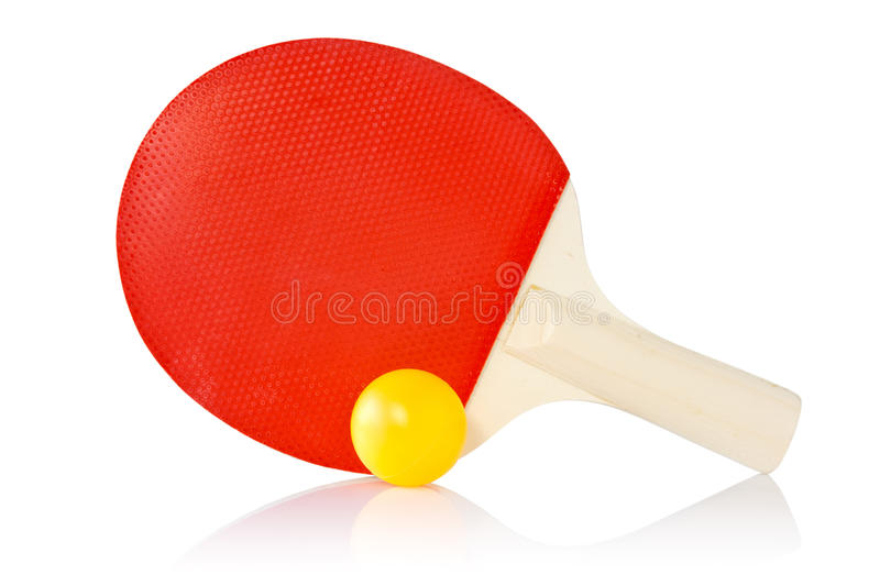 Table-tennis racket and ball. On a white background royalty free stock photos