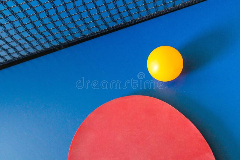 Table tennis racket ball table stock images