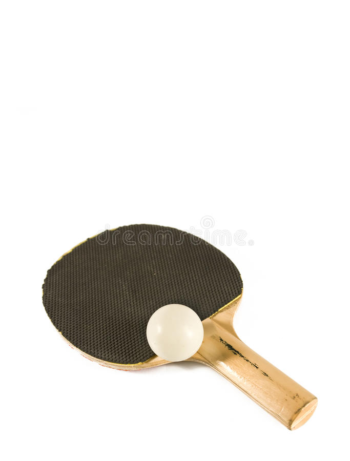 Table tennis racket with ping pong ball stock photos