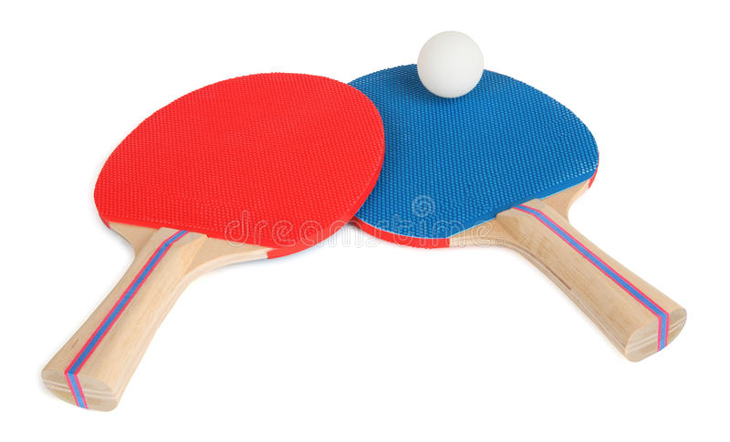 Table Tennis Rackets and Ball Close-Up royalty free stock images