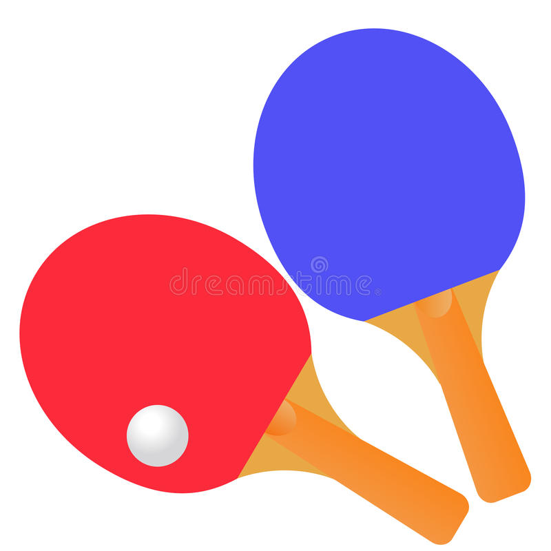 Table tennis rackets and ball on a white background. royalty free illustration