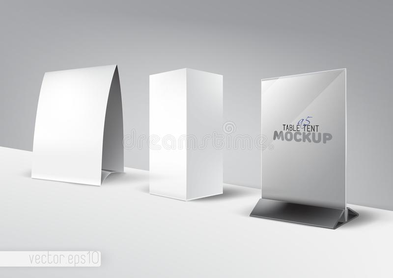 Table tent tabe stand, menu, card, advertising mockup set vector illustration