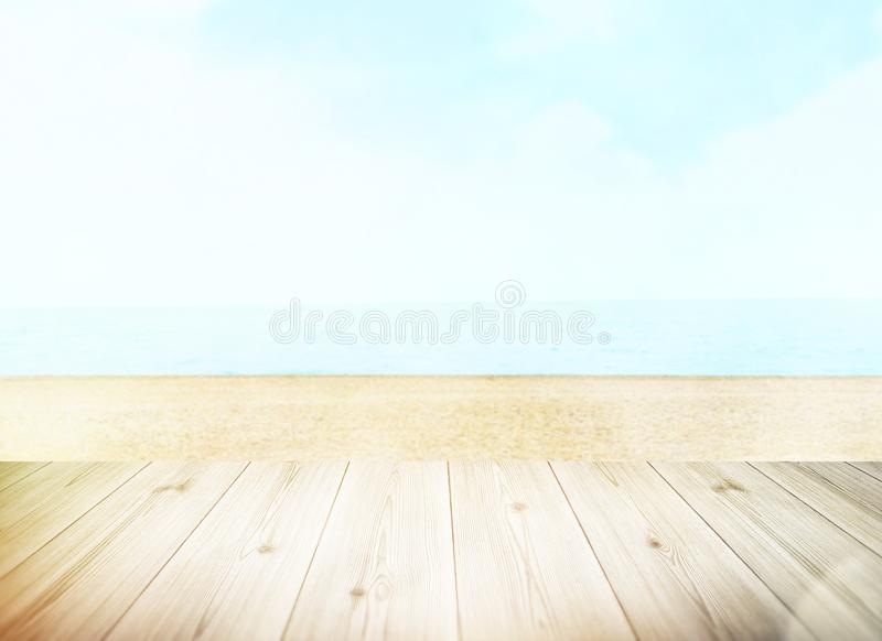 Table top with beach background, sky and cloud in sunny day for product display job showing. royalty free stock photos