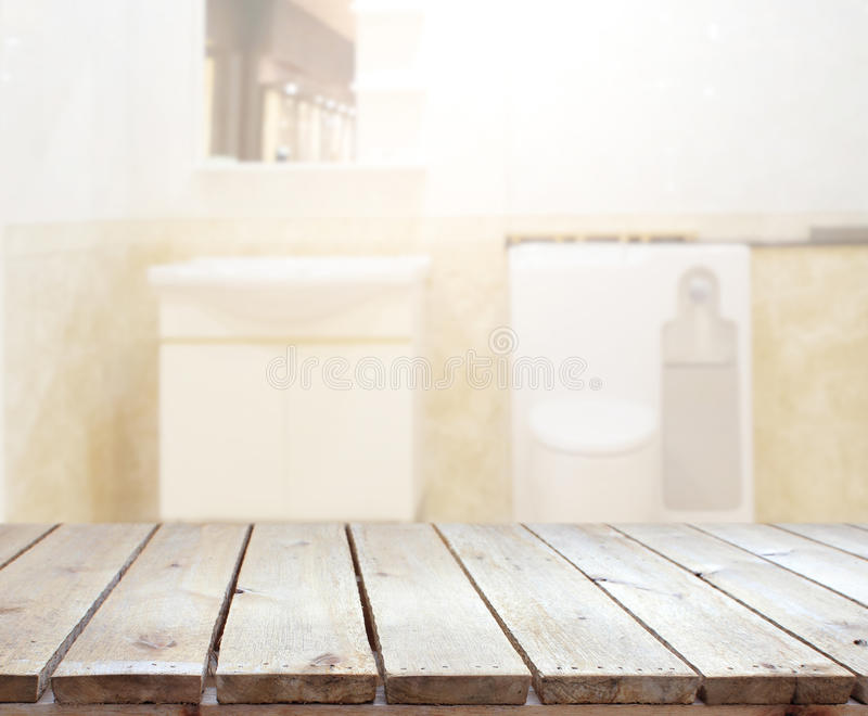 Download Table Top And Blur Bathroom Of Background Stock Image