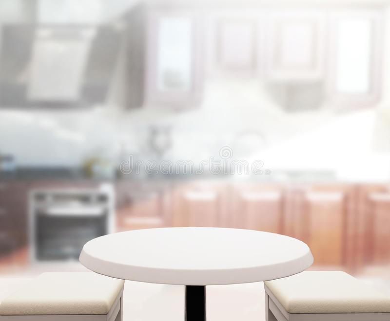 Kitchen Table Top Background table top and blur kitchen room of background stock photo - image