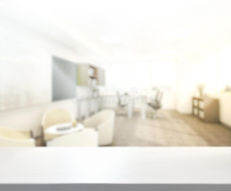 Table Top And Blur Office of Background stock photo