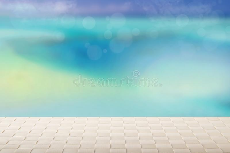 Table top on sunny beach background. A Empty bright table on blu stock image