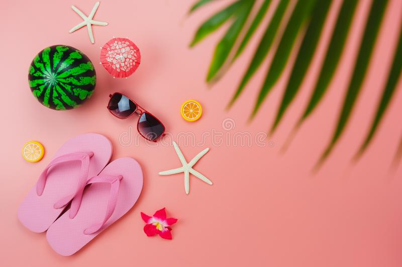 Table top view accessory of clothing women & men plan to travel in summer holiday background concept. stock images