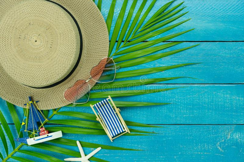 Table top view accessory of clothing women & men  plan to travel in summer holiday background concept royalty free stock photo