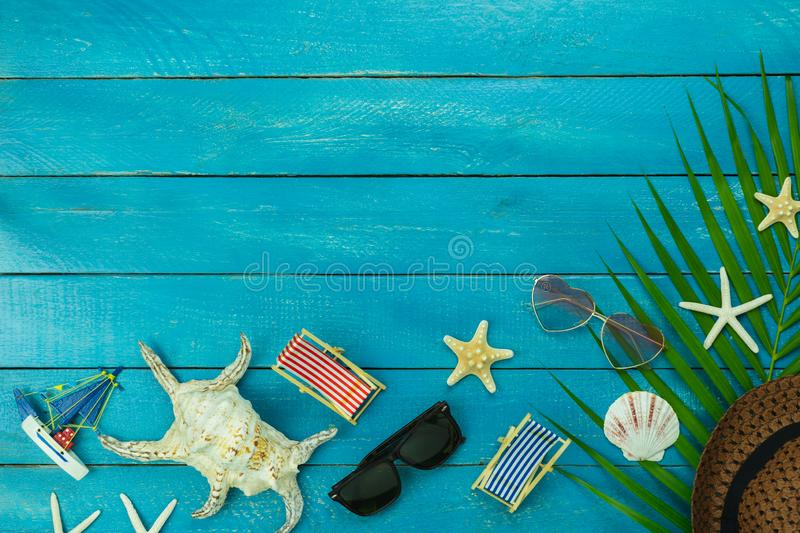 Table top view accessory of clothing women & men  plan to travel in summer holiday background concept royalty free stock photos