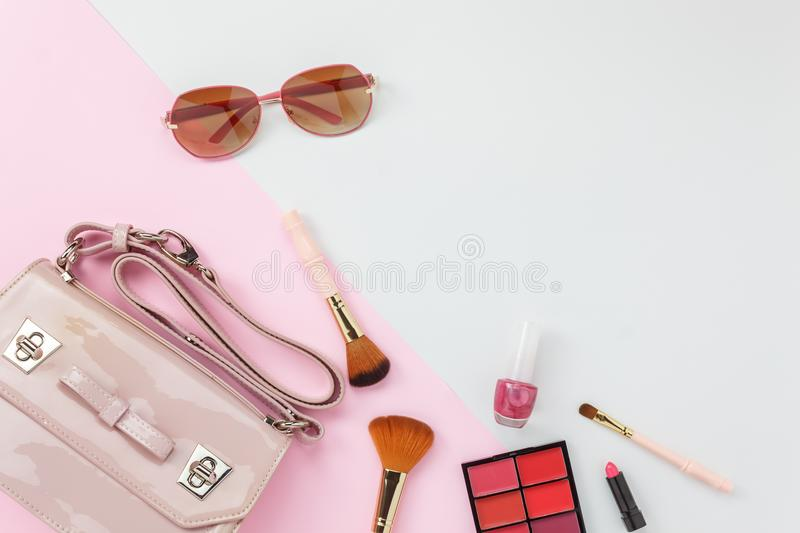 Table top view accessory of clothing women plan to travel in holiday background concept. royalty free stock images