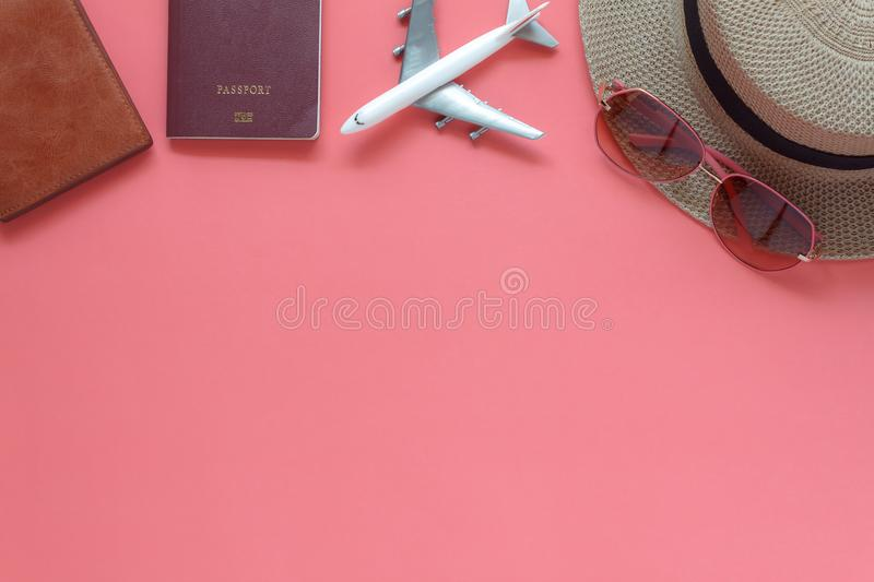 Table top view accessory of clothing women plan to travel in holiday royalty free stock images