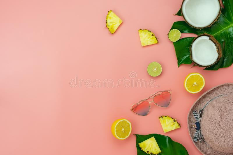 Table top view accessory of clothing women plan to travel in summer holiday background concept.monstera leaves with essential stock photo