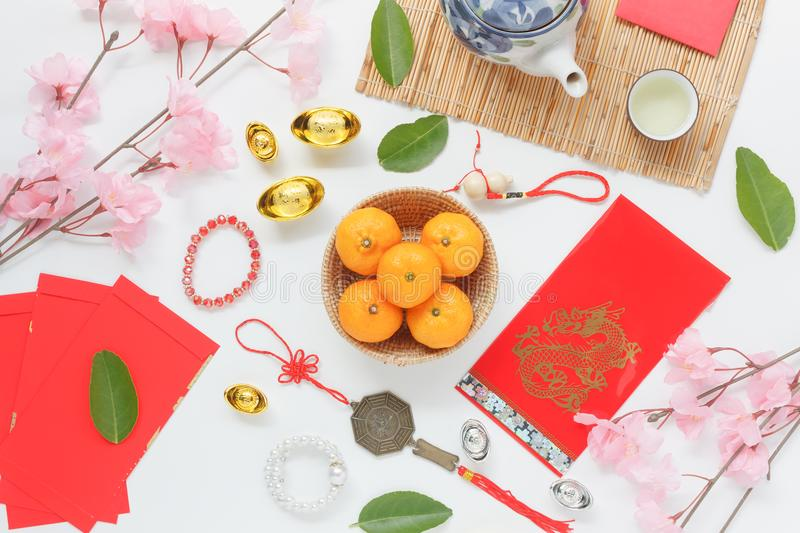 Table top view aerial of accessories and Chinese new year and Lunar new year festival concept background. royalty free stock photos