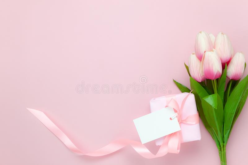 Table top view aerial of decoration Happy mothers day holiday background stock image