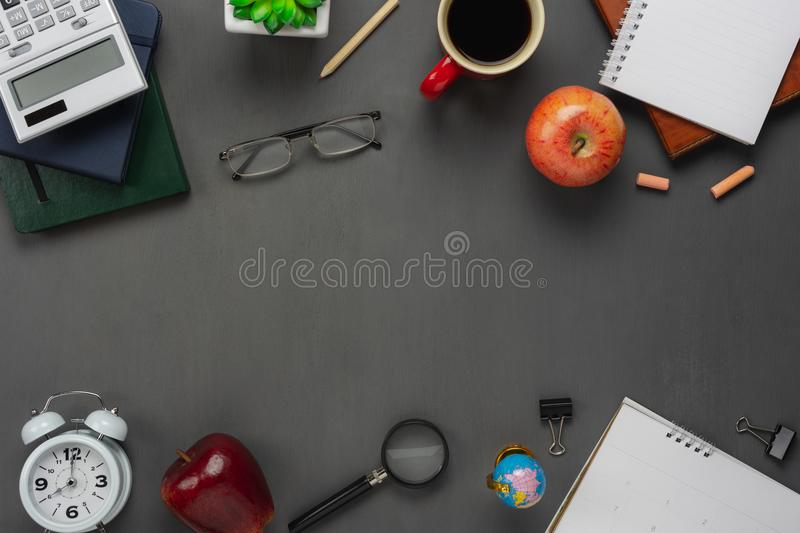 Table top view aerial image of back to school of education season background concept. stock photo