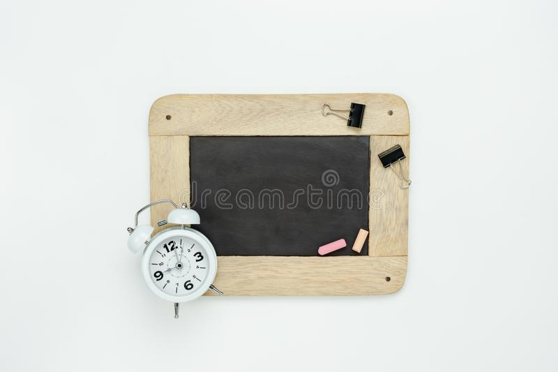 Table top view aerial image of back to school of education season background concept stock images