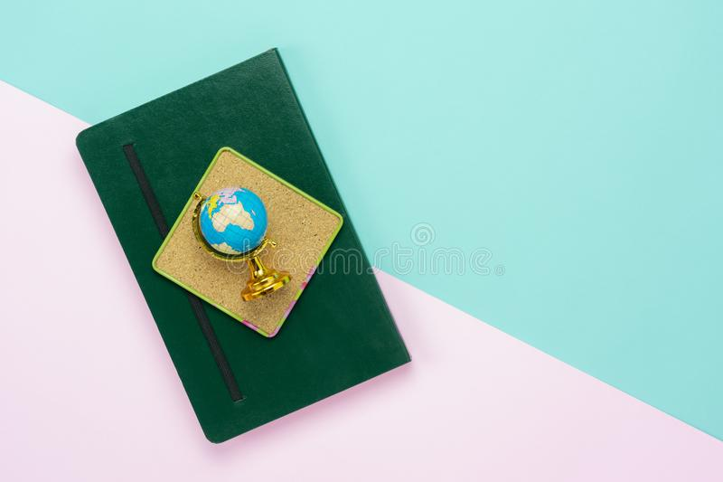 Table top view aerial image of back to school of education season in global world stock image
