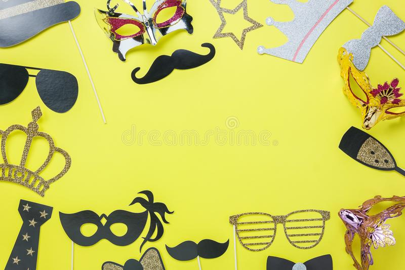Table top view aerial image of beautiful colorful carnival mask or photo booth props stock illustration