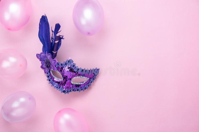 Table top view aerial image of beautiful colorful decorations Mardi Gras or carnival festival background.Flat lay accessory stock photo