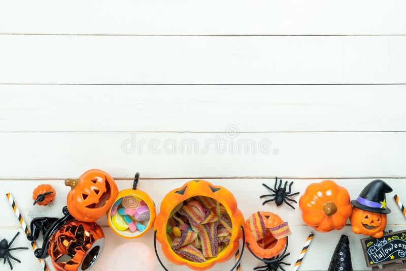 Table top view aerial image of decoration Happy Halloween day background concept. stock photo