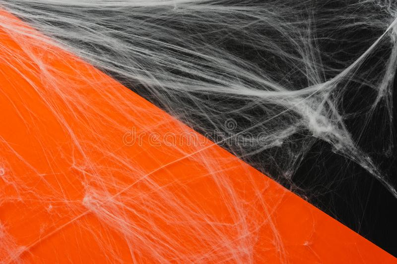 Table top view aerial image of decoration Happy Halloween day background concept. Flat lay accessories essential object to party the spider cobweb on orange & royalty free stock images