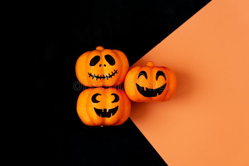 Table top view aerial image of decoration Happy Halloween day background concept.Flat lay accessories essential object to party stock image