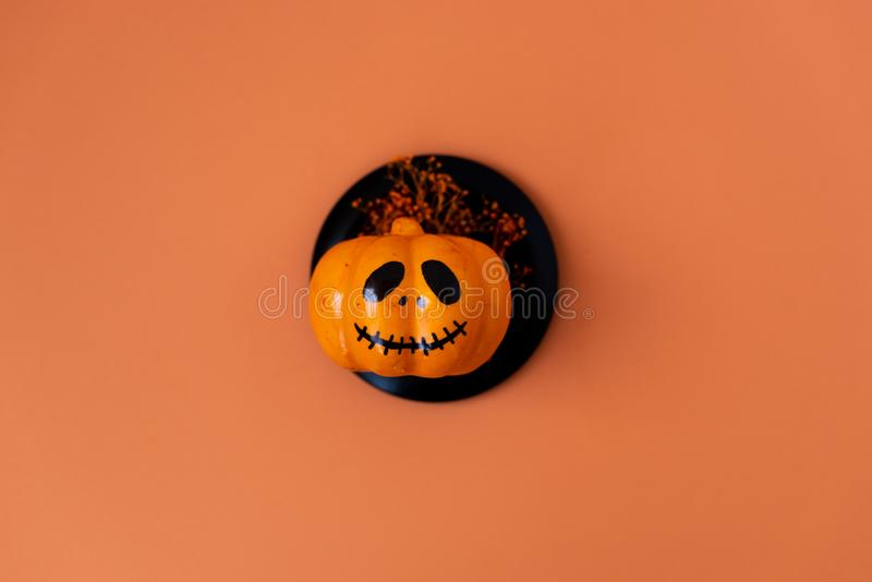 Table top view aerial image of decoration Happy Halloween day background concept.Flat lay accessories essential object to party. The pumpkin sweet candy on stock images