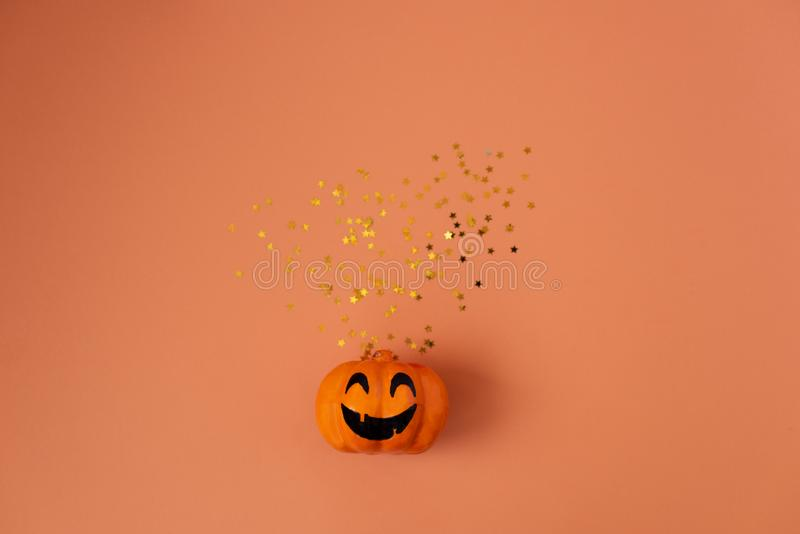 Table top view aerial image of decoration Happy Halloween day background concept.Flat lay accessories essential object to party. The pumpkin sweet candy on stock image